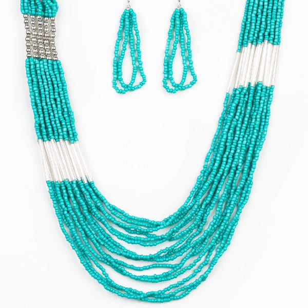 """Let It BEAD - Blue"" Seed Bead Necklace & Earrings Set"