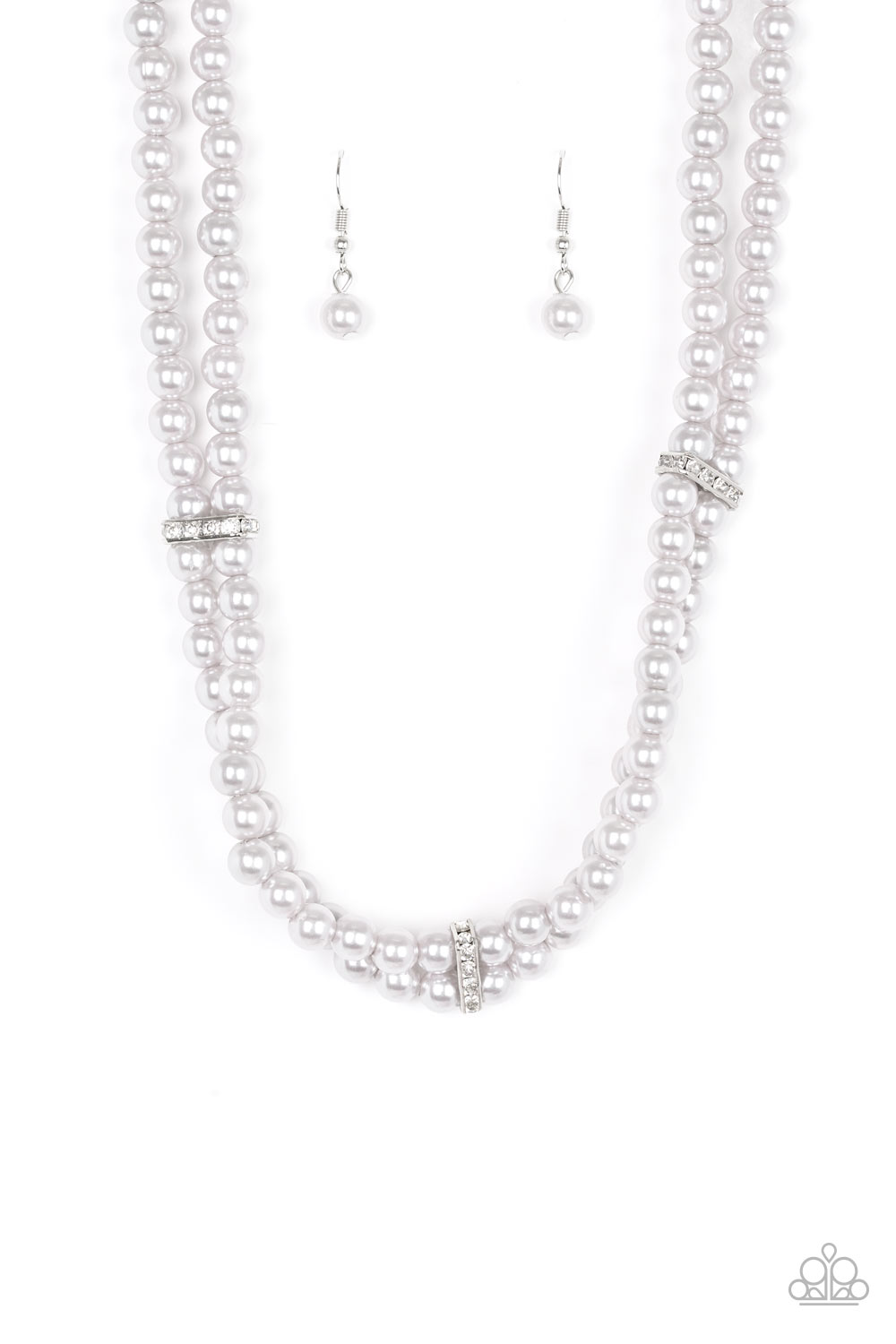 """Put On Your Party Dress - Silver"" Faux Pearl Necklace & Earrings Set"