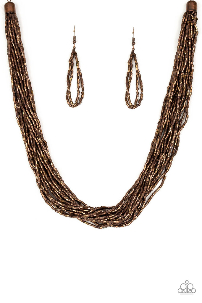 "Paparazzi ""The Speed of STARLIGHT - Copper""  Necklace & Earrings Set"