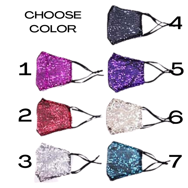 Face Mask Sequin Choose Your Color Reusable Washable Adult