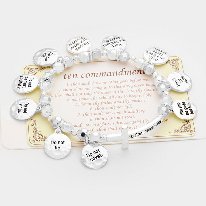 Ten Commandments Multi-charm Silver Stretch Bracelet