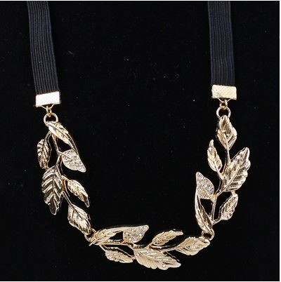 Gold Alloy Olive Branch Leaves Rhinestone Head Or Hair Band