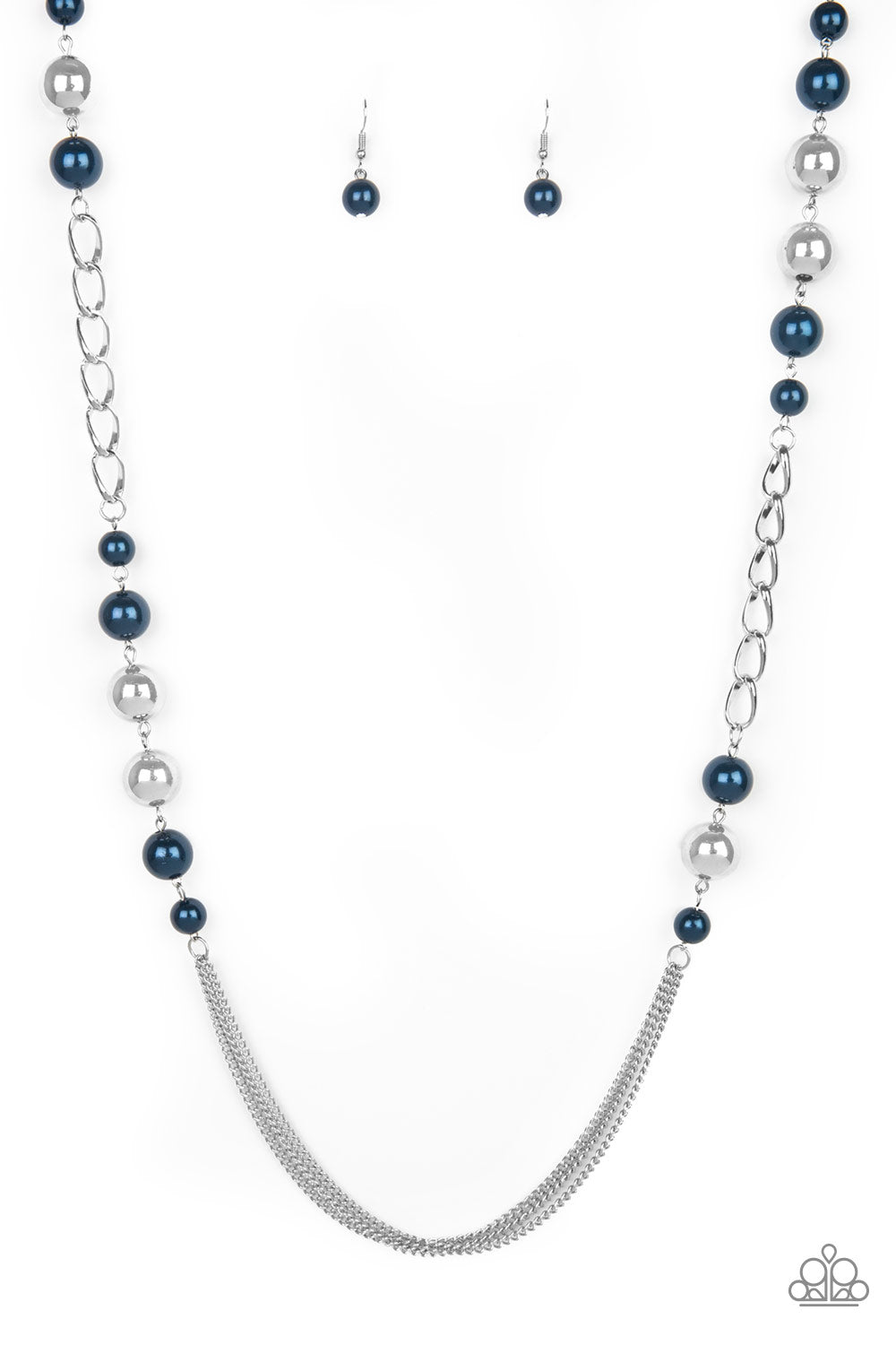 """Uptown Talker - Blue"" Over-sized Silver Beads Necklace & Earrings Set"