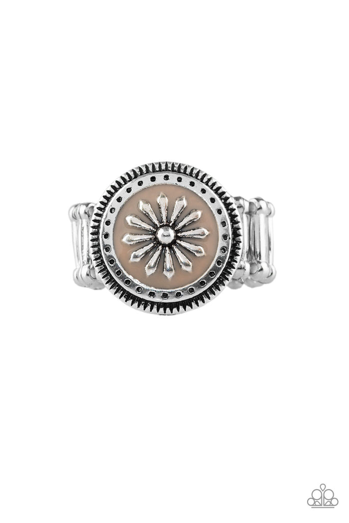 """Free Spirited Flower - Brown"" Silver Stretch Ring"