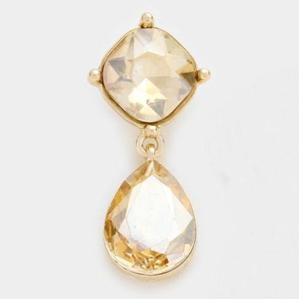 Miro Topaz Color Crystal Teardrop Gold Earrings