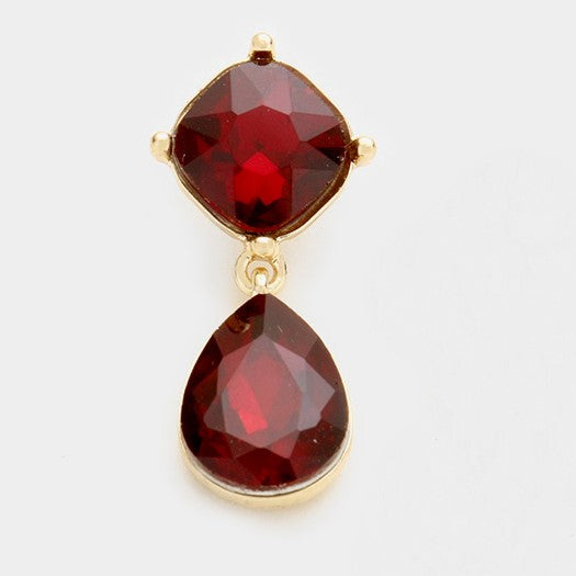 Red Crystal Teardrop Evening Bridal Pierced Dangle Gold Pierced Earrings