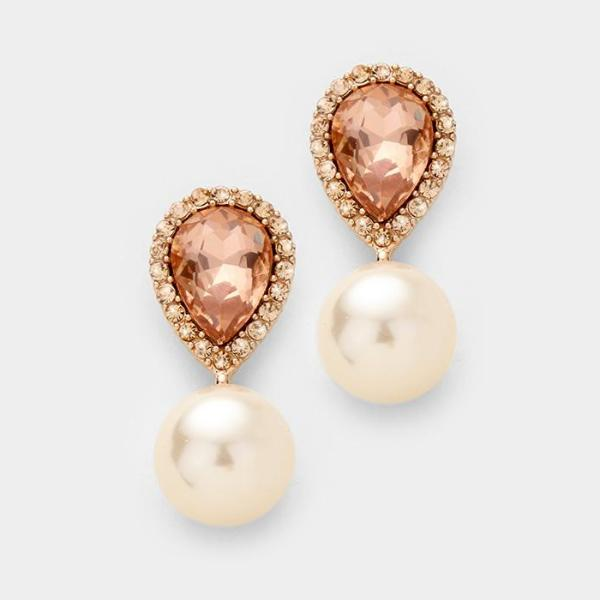 Miro Peach Crystal Teardrop & Pearl Rose Gold Earrings