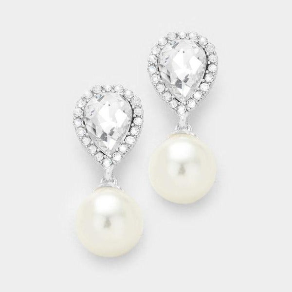 Pearl & Clear Crystal Teardrop Bridal Silver Pierced Dangle Earrings