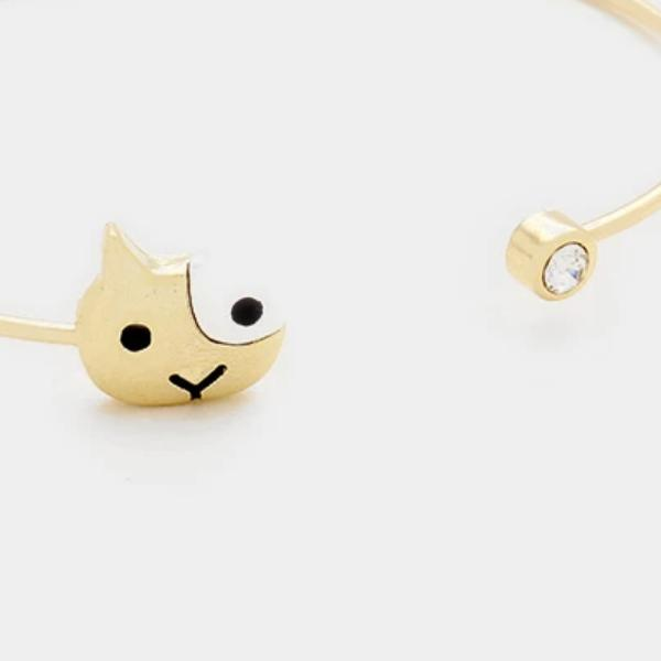 Cat Kitty Face Rhinestone Gold Cuff Fashion Bracelet