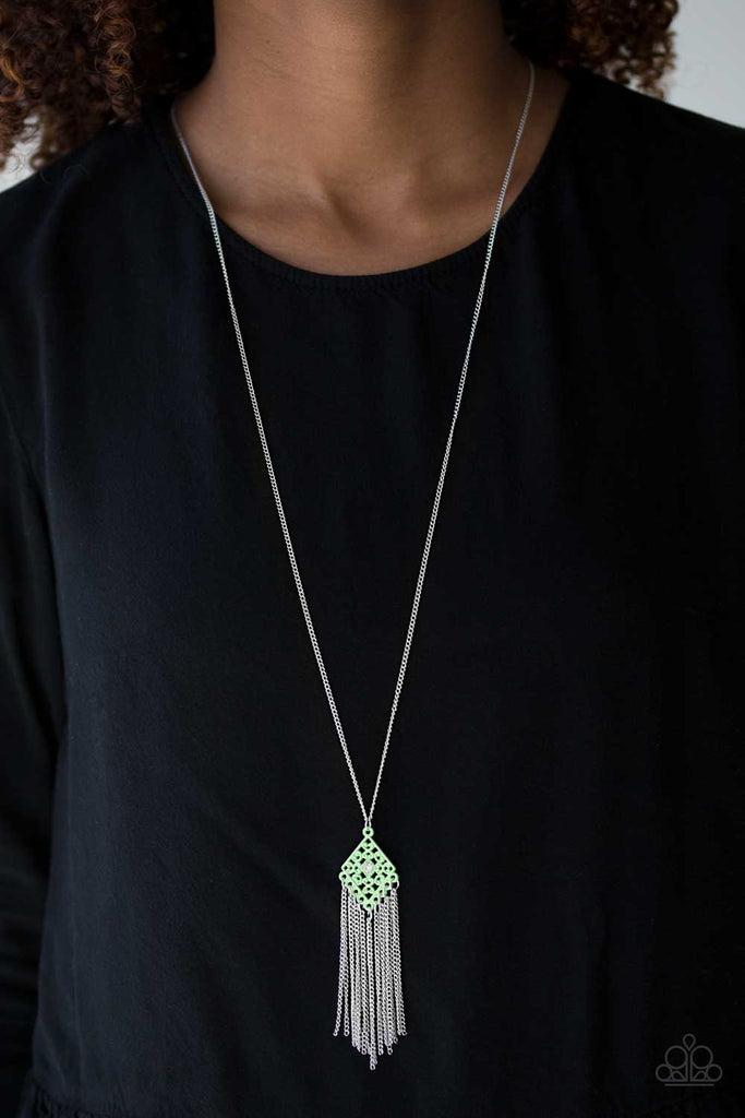 """Color Me Capricious - Green"" Necklace & Earrings Set"