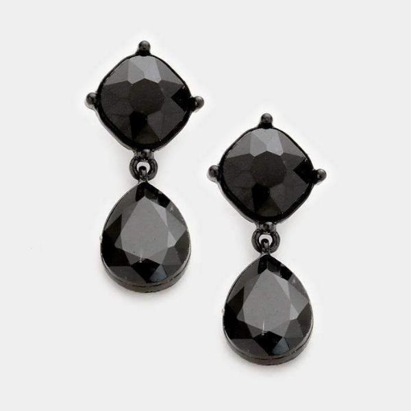 Black Crystal Teardrop Evening Bridal Dangle Pierced Earrings