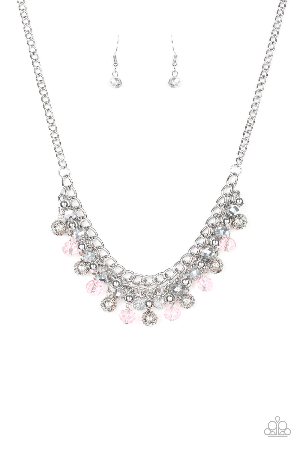 "Paparazzi ""Party Spree - Pink"" Beaded Necklace & Earrings Set"