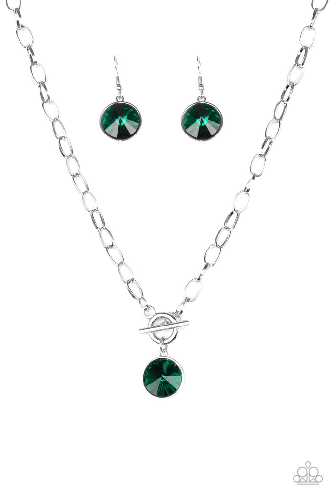 Paparazzi She Sparkles On Green Gem Necklace & Earrings Set