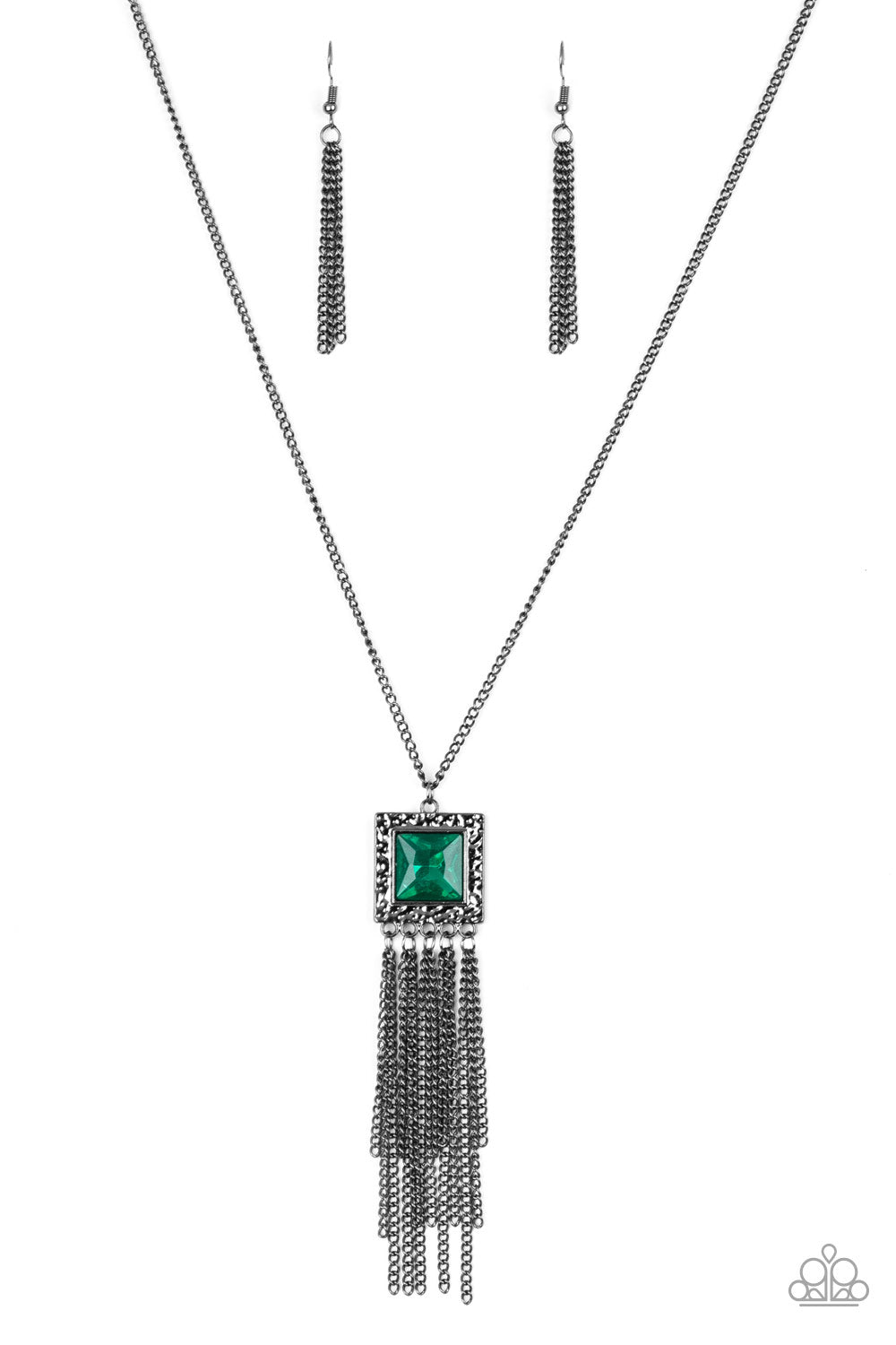 Paparazzi Shimmer Sensei Green Necklace & Earrings Set