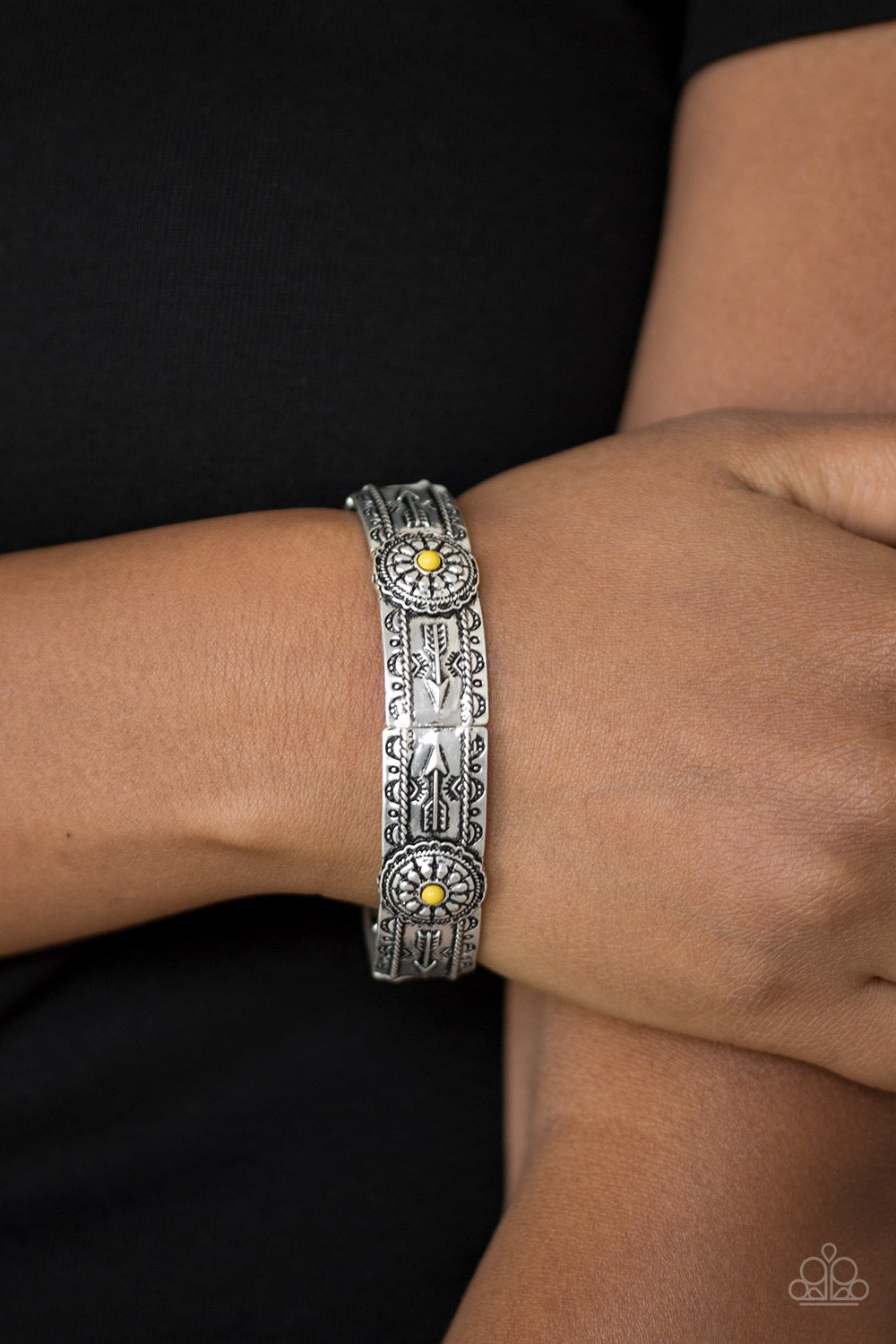 Paparazzi Southern Borders Yellow Embossed Silver Bracelet