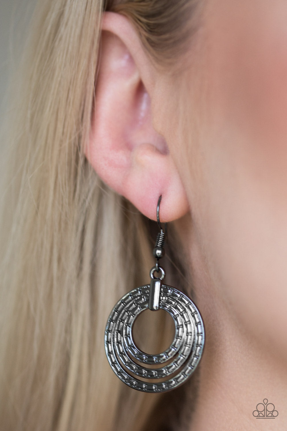 """Open Plains - Black"" Gunmetal Earrings"