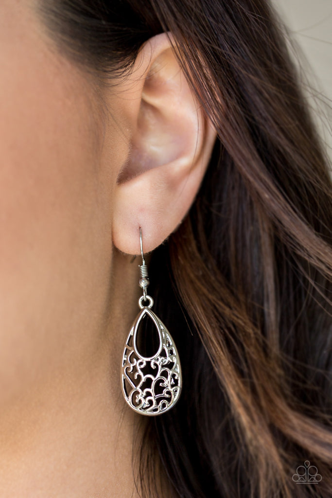 Paparazzi Always Be VINE Silver Teardrop Filigree Earrings