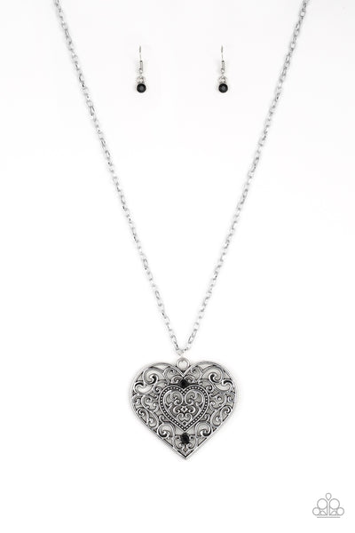 """Classic Casanova - Black"" Heart Necklace & Earrings Set"