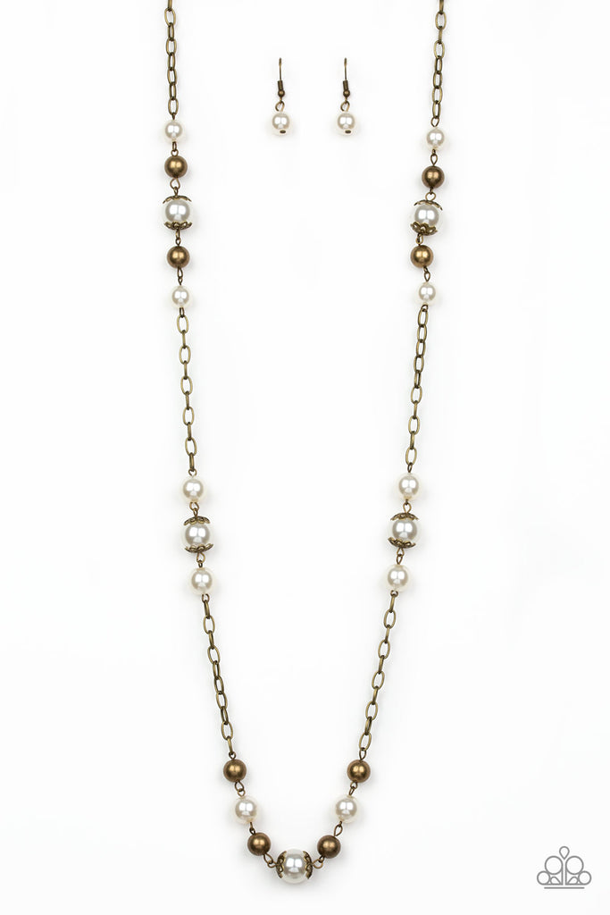Paparazzi Wall Street Waltz Brass Necklace & Earrings Set