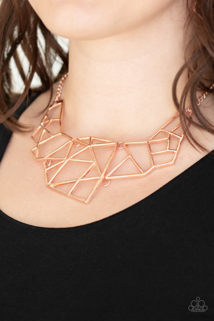 Paparazzi World Shattering Copper Necklace & Earrings Set