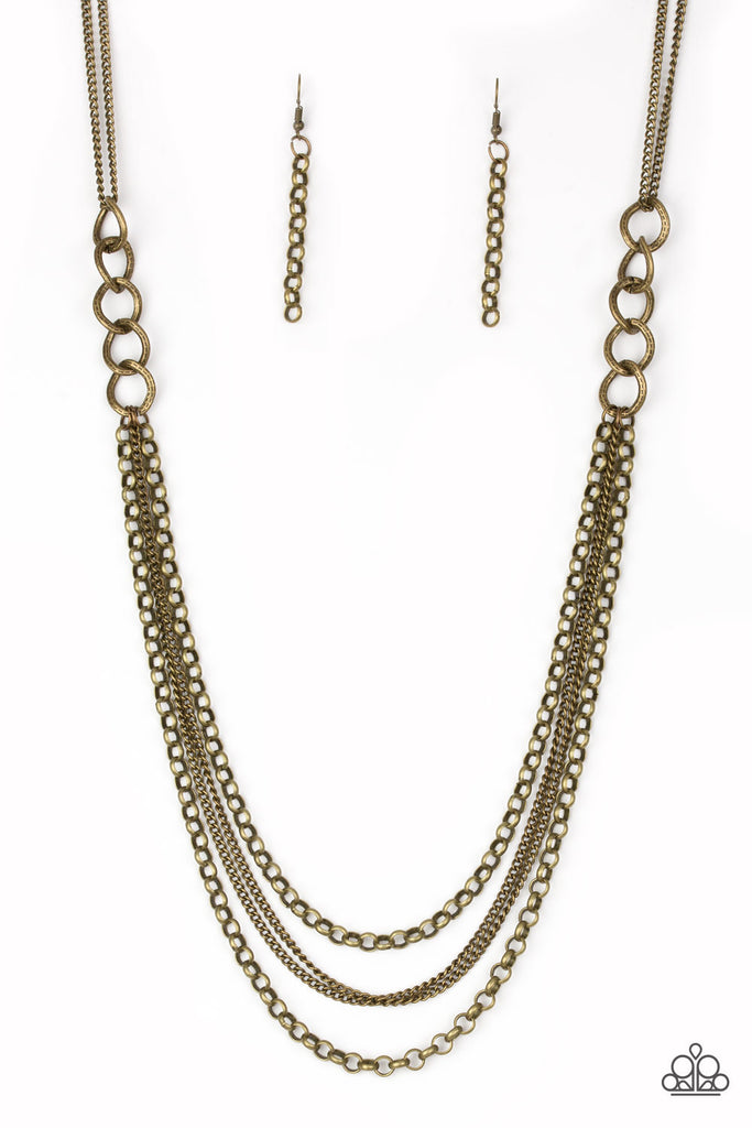 """Mechanical Mayhem - Brass"" Necklace & Earrings Set"
