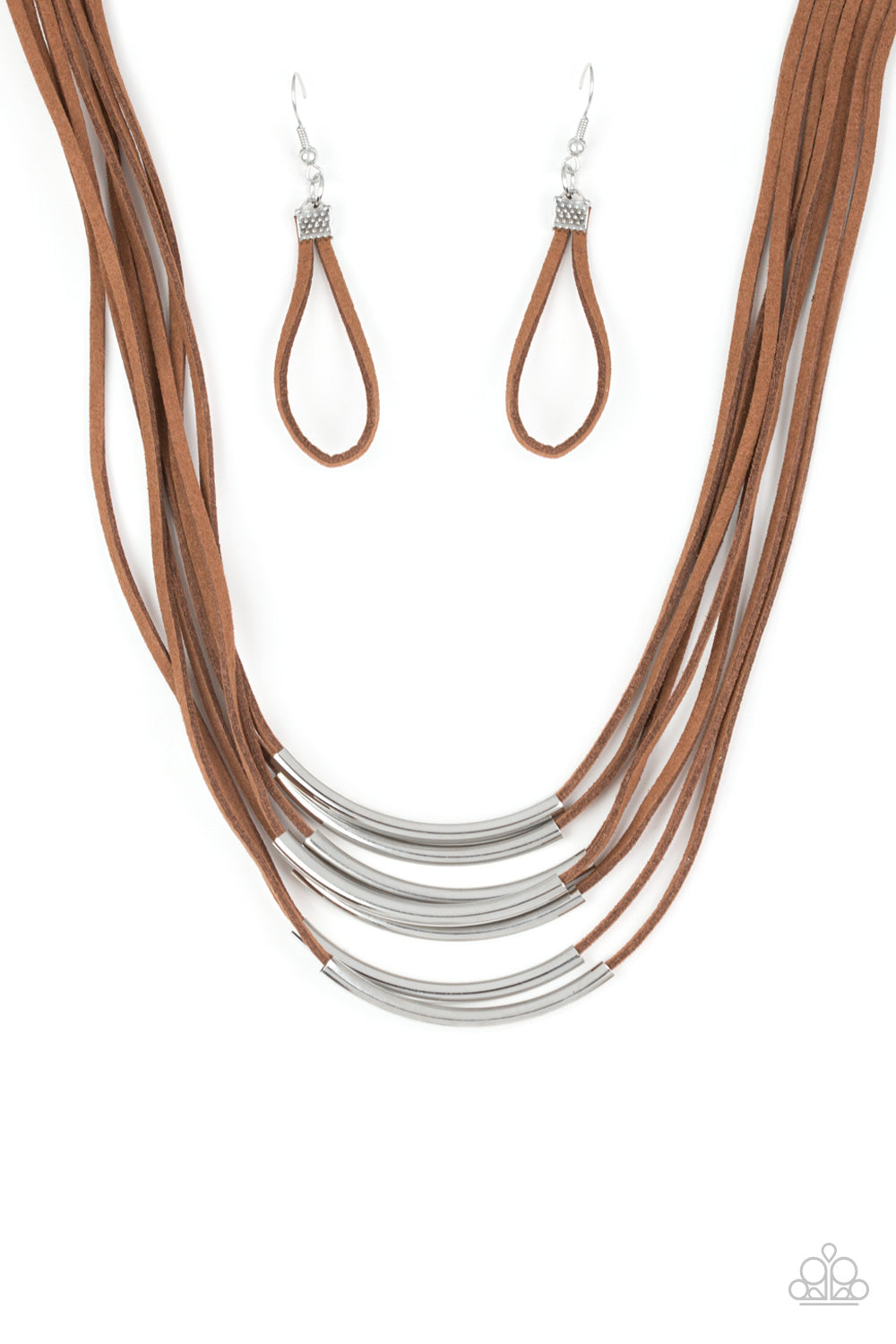 """Walk The WALKABOUT - Brown"" Necklace & Earrings Set"