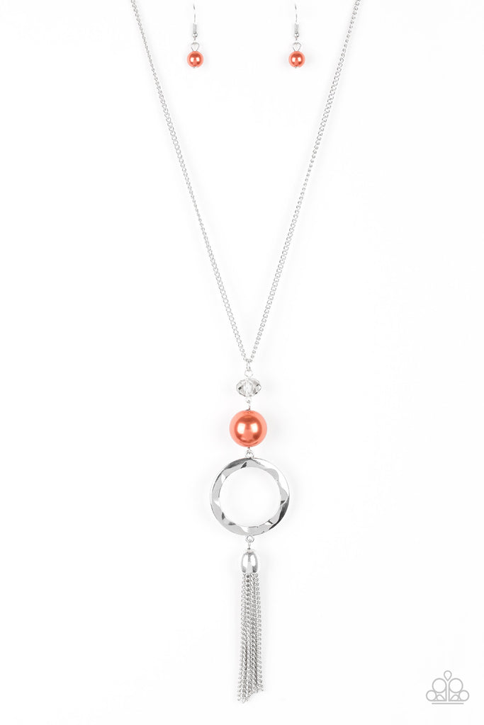 """Bold Balancing Act - Orange"" Necklace & Earrings Set"