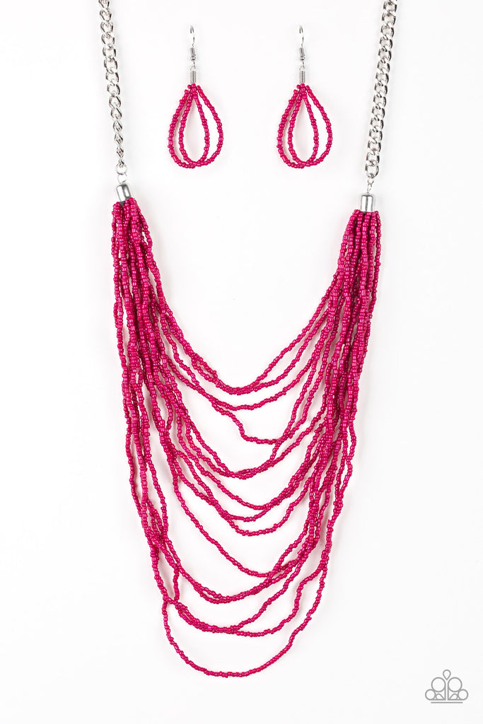 Paparazzi Bora Bombora Pink Necklace & Earrings Set