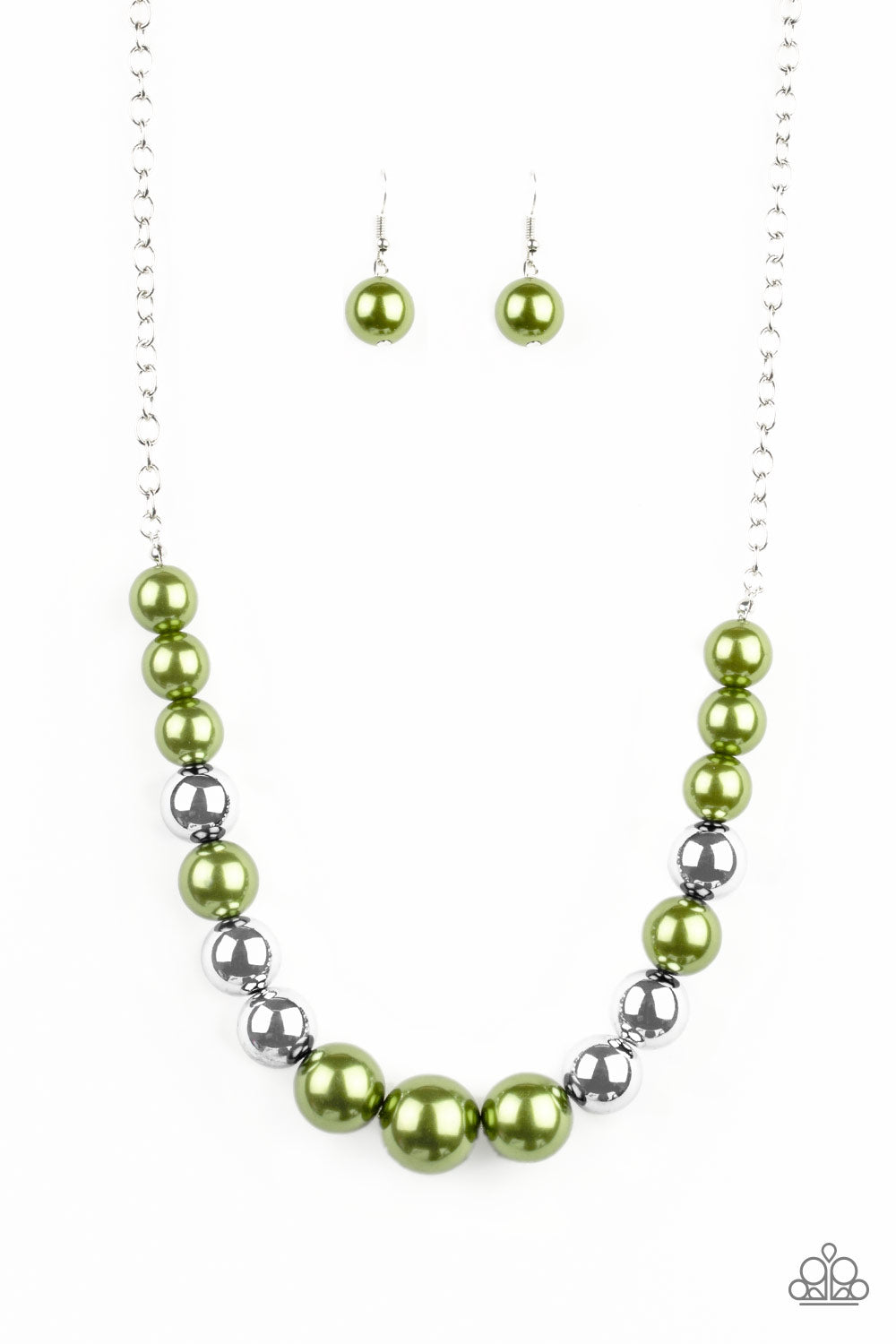 """Take Note Green"" Pearly Beads Necklace & Earrings Set"