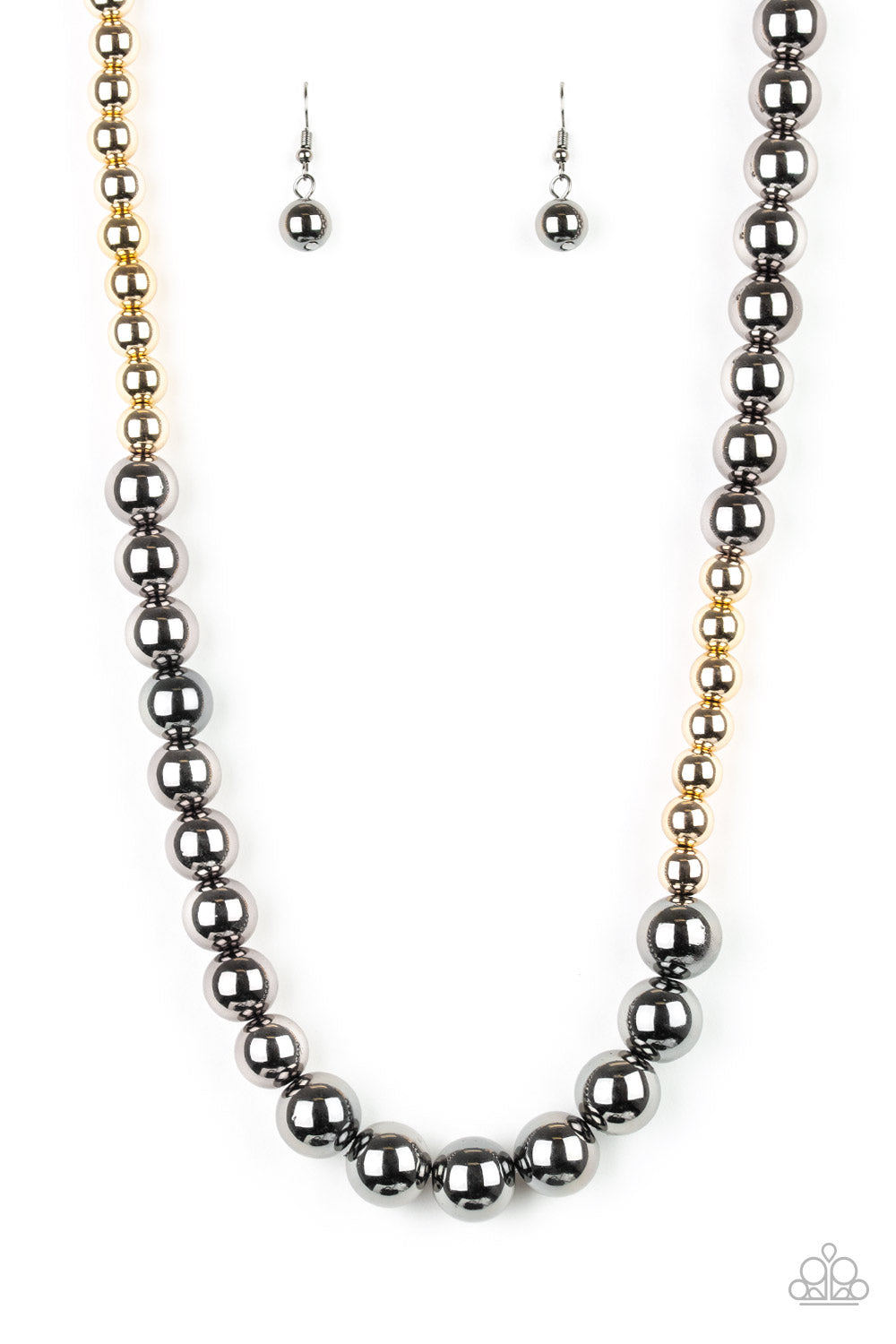 """Power To The People - Black"" Gold & Gunmetal Necklace Earrings Set"