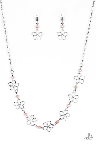 """Always Abloom - Pink"" Flower Necklace & Earrings Set"