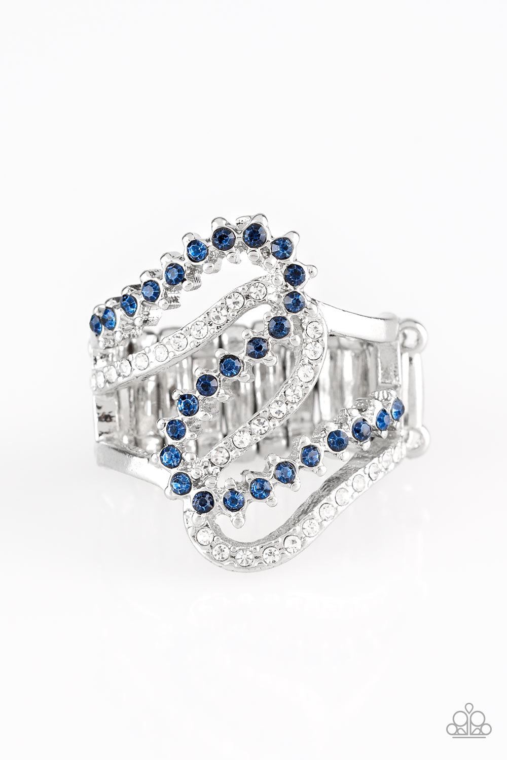 """Make Waves - Blue"" Rhinestone Stretch Ring"