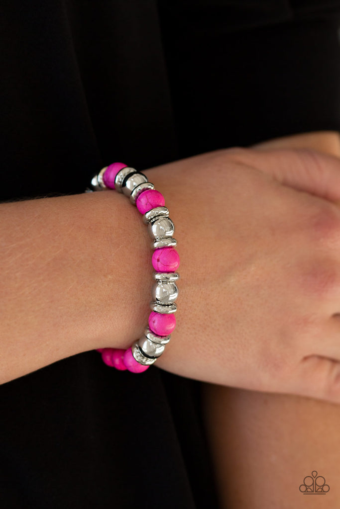 """Across the Mesa - Pink"" Silver Stretch Bracelet"