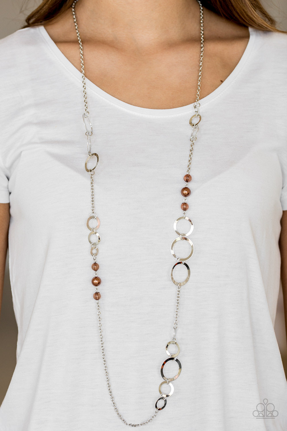 """The GLOW-est of the Glow - Brown"" Silver Hoops Necklace & Earrings Set"