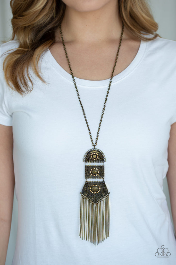"""Tassel Tycoon - Brass"" Rhinestone Necklace & Earrings Set"