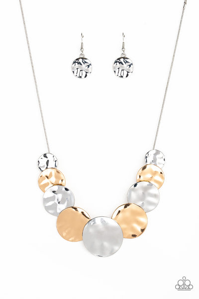 """A Daring DISCovery - Silver"" Necklace & Earrings Set"