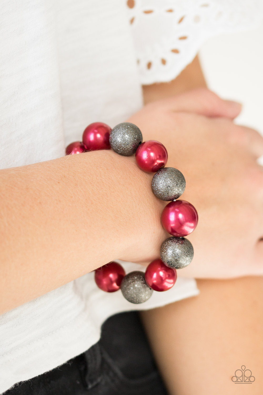 Paparazzi Humble Hustle - Red Stretchable Bead Bracelet