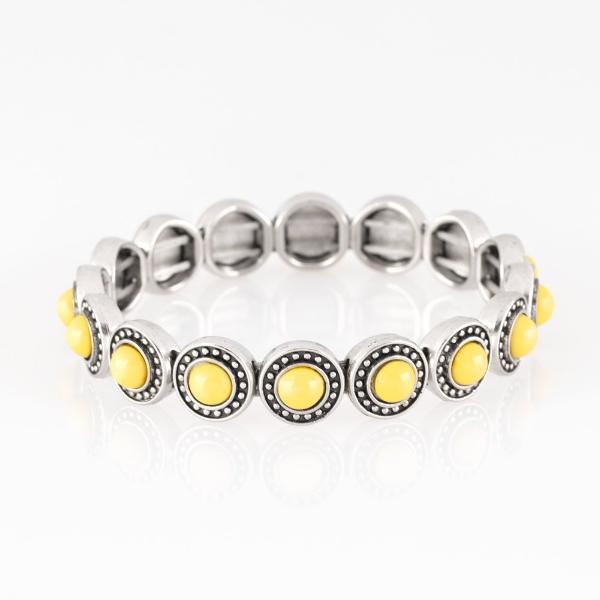 """Globetrotter Goals"" Sunny Yellow Bead Stretch Bracelet"