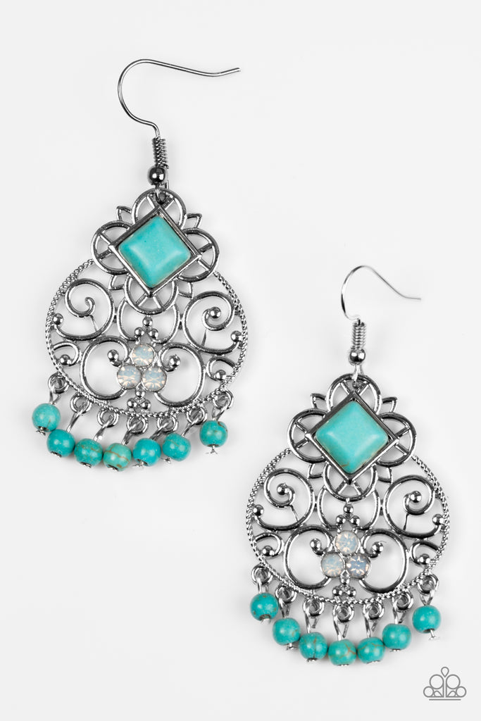 """Western Wonder - Blue"" Faux Turquoise Rhinestone Silver Earrings"