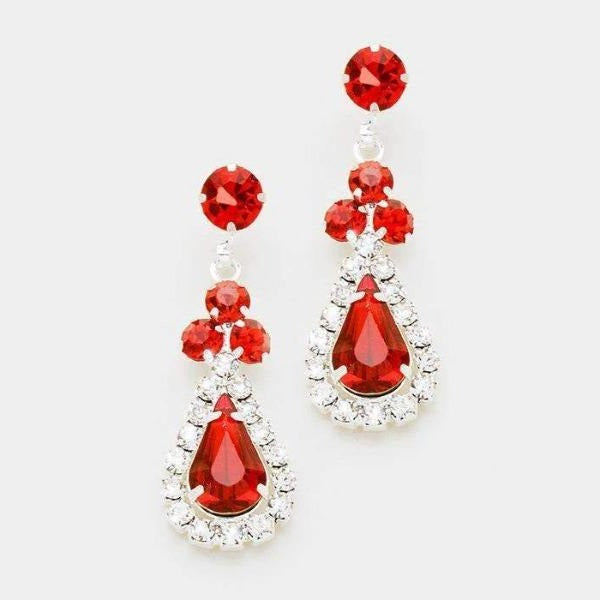 Red Crystals & Silver Pave Trim Crystal Evening Earrings