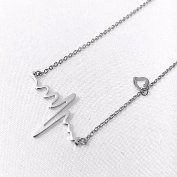 Heartbeat With Small Heart Silver Tone Necklace