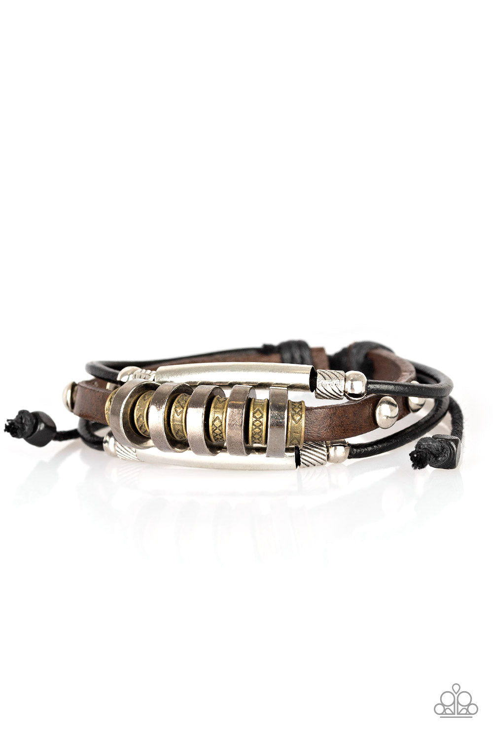 Paparazzi Urban Backpack Black & Brown Leather Bracelet