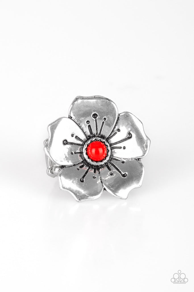 """Boho Blossom - Red"" Flower Stretch Ring"