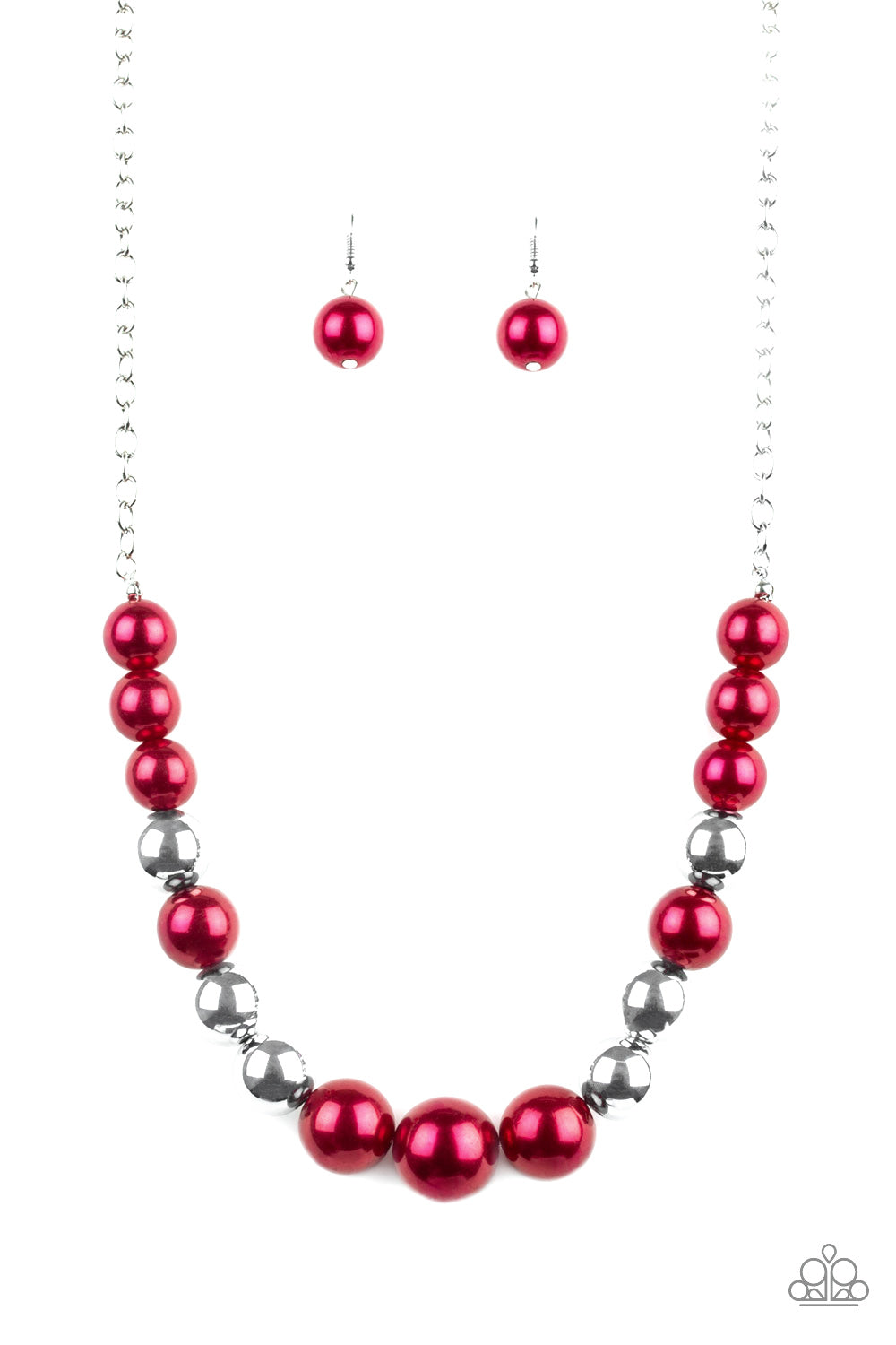 """Take Note Red"" Pearly Beads Necklace & Earrings Set"