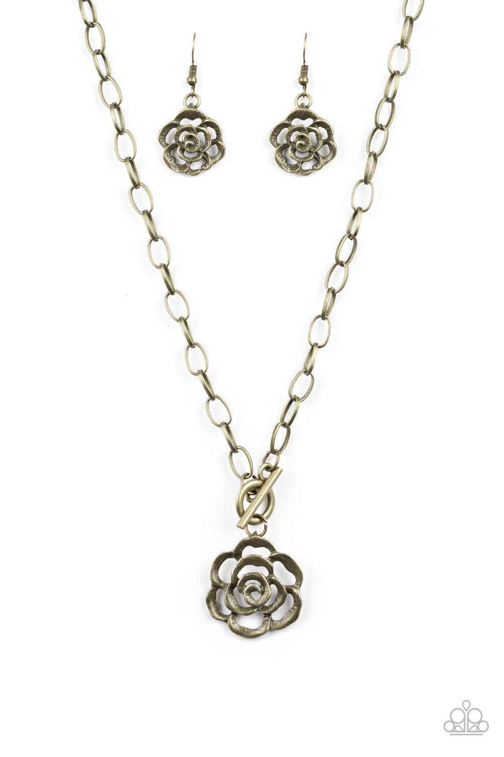 "Paparazzi ""Beautifully In Bloom - Brass"" Rosebud Necklace & Earrings Set"