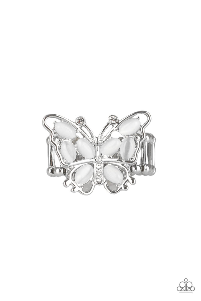 """Flutter Flair - White"" Butterfly Stretch Ring"