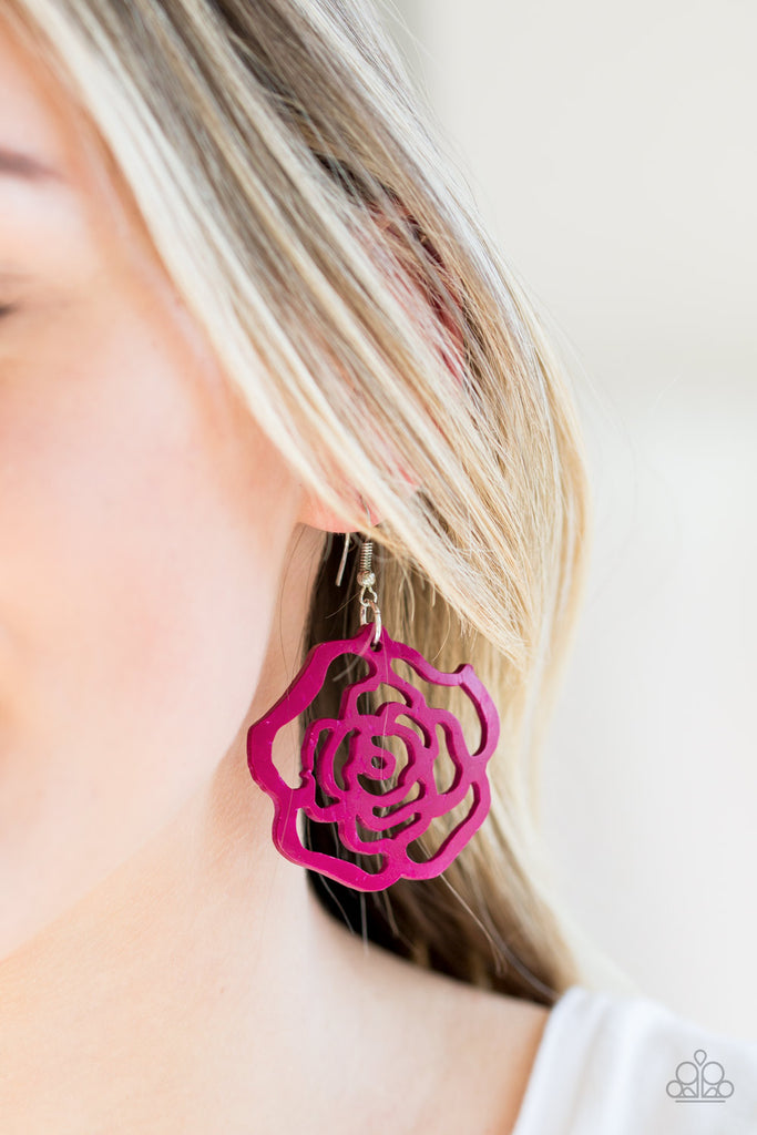 Island Rose Pink Flower Pierced Earrings