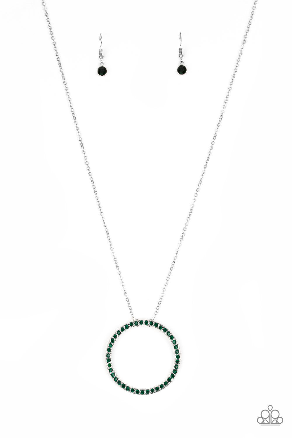Paparazzi Center Of Attention Green Necklace & Earrings Set