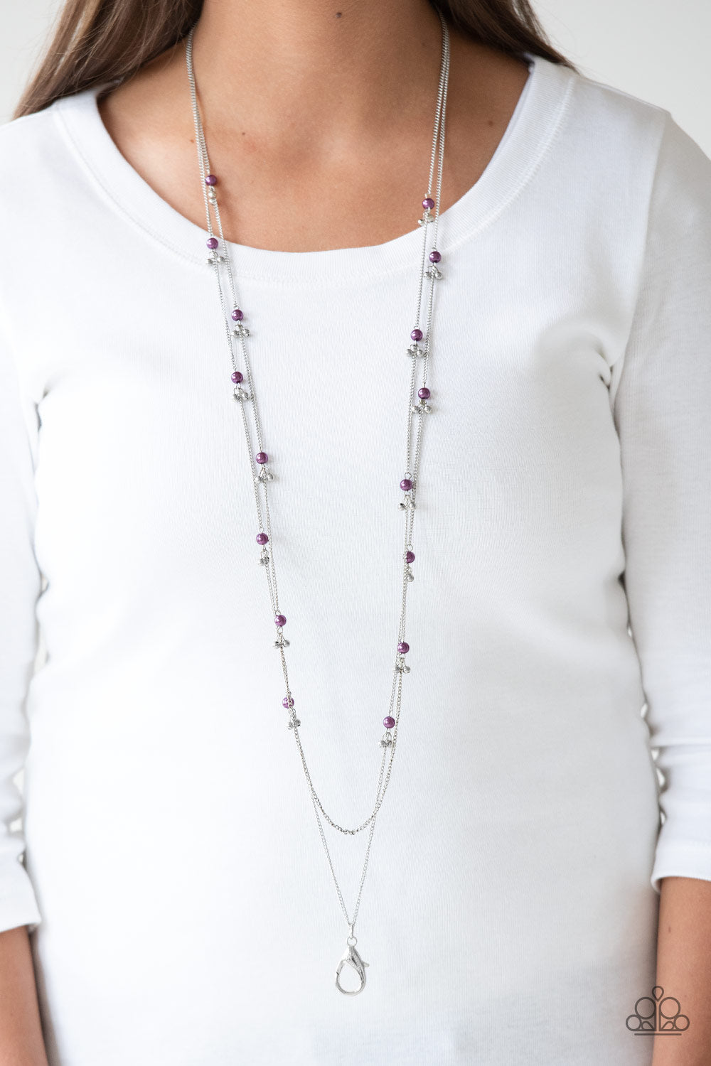 Paparazzi Ultrawealthy Purple Lanyard Necklace & Earrings Set