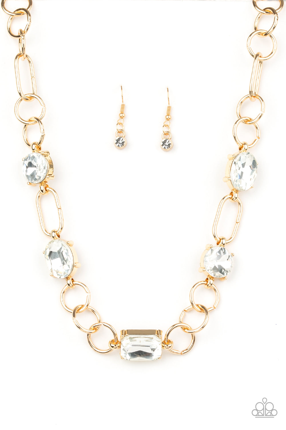 Paparazzi Urban District Gold Necklace & Earrings Set